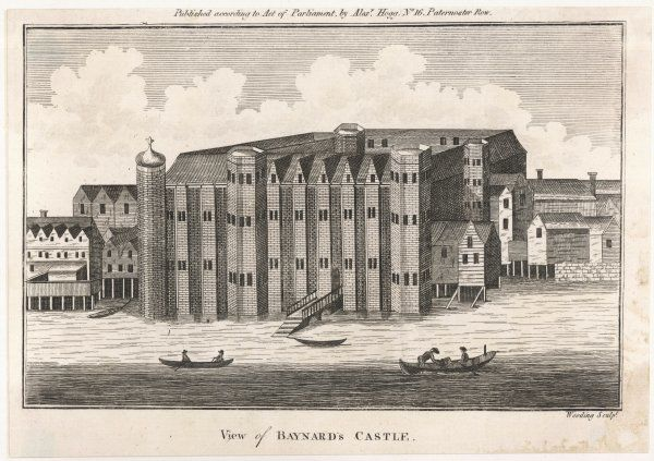 First built by a companion of William the Conqueror, this building on the banks of the Thames at Blackfriars was periodically rebuilt, finally destroyed in the Great Fire