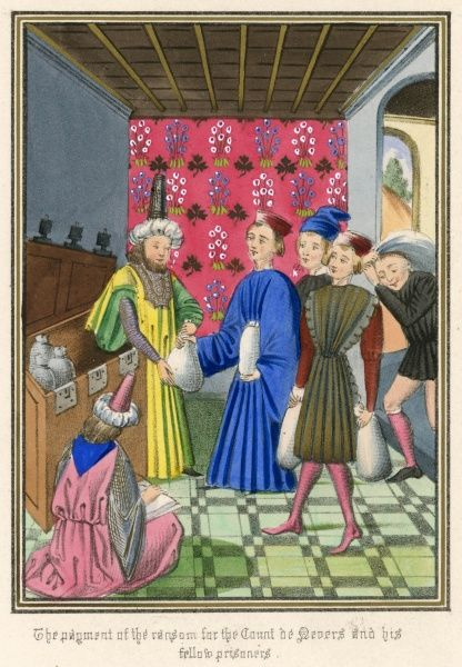 Bajazet, sultan of Turkey, accepts ransom money for the comte de Nevers and other French Knights, captured during a reckless invasion of Turkey near Nicopolis