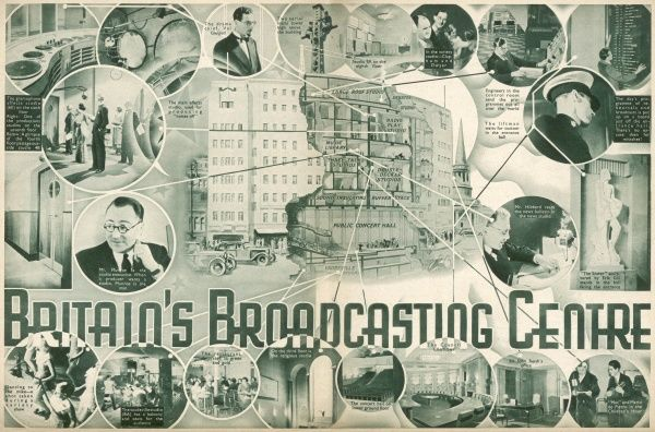 Spread from Radio Pictorial Annual showing the British Broadcasting Centre including the interior with the vaudeville studio, the gramaphone effects studio, concert hall, council chamber, Sir John Reith's office, and restaurant in 1935