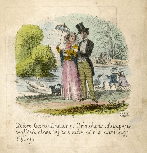 At a time prior to 1857 when the cage crinoline became available (patented December 1856) Adolphus and his beloved Kitty could walk intimately side by side