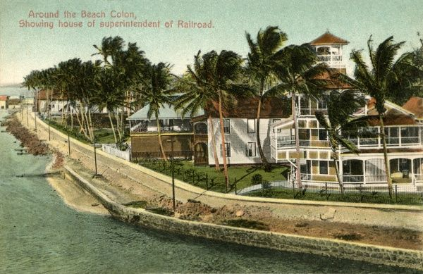 Around the Beach Colon, showing the house of superintendent of the railroad Date: 1930s