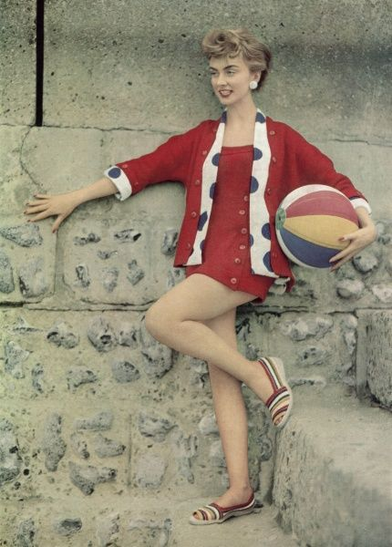 Photograph showing fashionable casual wear designed for the beach, 1955
