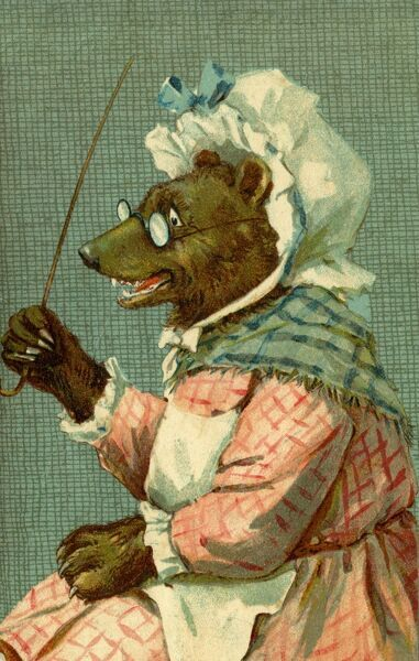Bear with stick by gh Thompson. George Henry Thompson (1859-1959) specialised in illustrating humorous animals. He was also a landscape painter. This image in books and postcards by Ernest Nister. Date: circa 1904