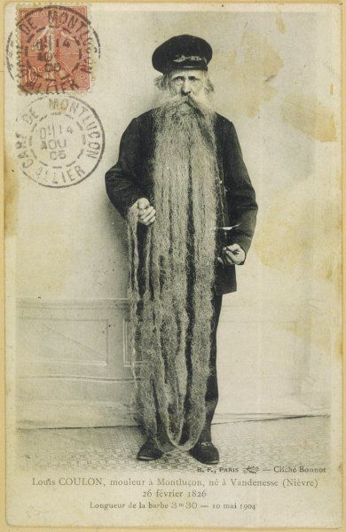 Monsieur Louis Coulon of Montlucon, France, and his 3.3 metre beard