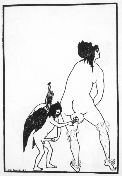 BEARDSLEY, Aubrey Vincent (1872-1898). Lysistrata. The Toilet of Lampito, drawing from the edition illustrated