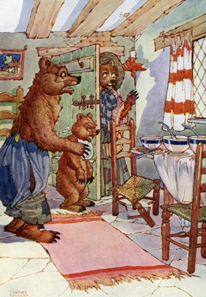 The Three Bears by Charles Folkard. 'Somebody's been at my porridge'. A fairy tale by Charles Perrault