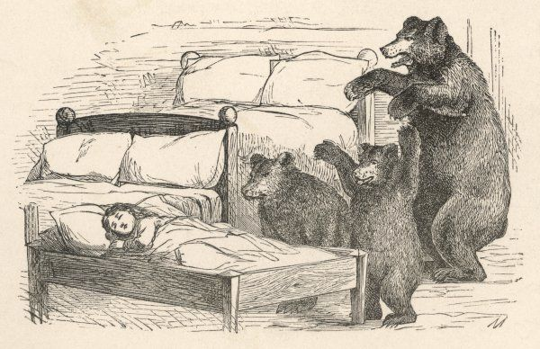 Father Bear, Mother Bear and Baby Bear find that someone has been lying in their beds, and that Goldilocks is still asleep in Baby Bear's Date