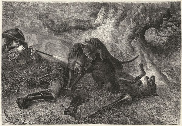 LA BETE DU GEVAUDAN The beast with one of its victims