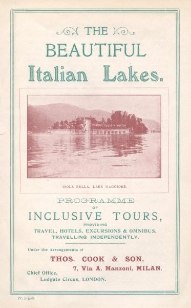 Cover illustration for The Beautiful Italian Lakes, Programme of Inclusive Tours, providing travel, hotels, excursions and omnibus, travelling independently, under the arrangements of Thomas Cook & Son, Via Manzoni, Milan, Italy