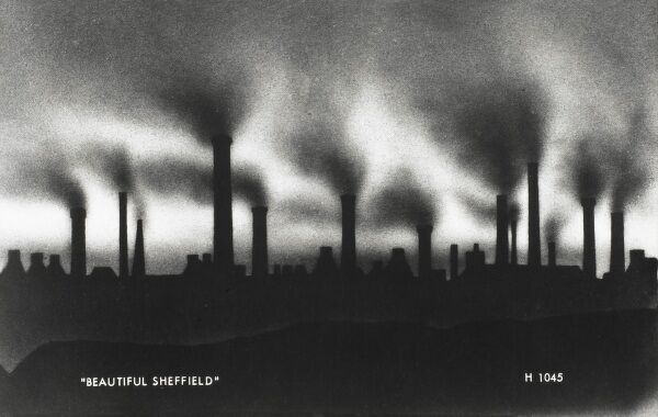 Beautiful Sheffield! A sarcastic interpretation on the skyline of dark satanic mills which characterised Sheffield from the Industrial Revolution through to the 1950s. South Yorkshire city, famous primarily for the production of steel