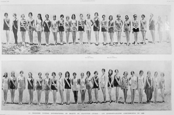 The forty-four contestants in the Miss World competition at Galveston, Texas. Date: 1929