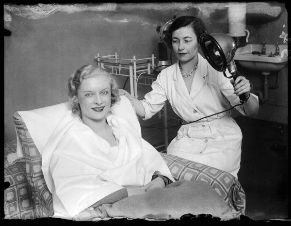 Beauty Queen Gwen Stanllard, 'Miss England' for 1932 having a beauty treatment