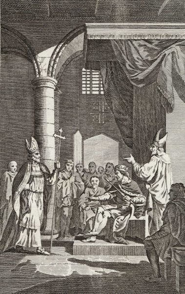 Becket argues with Henry II