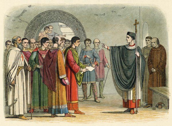 "Becket is confronted by the Earl of Leicester and refuses to seal the ""Constitutions of Claredon"" drawn up by Henry II to secure total obedience to the crown once more"
