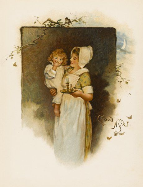 A nurse takes a small child to bed by candlelight