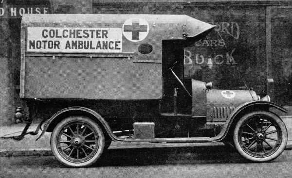 A Bedford-Buick ambulance presented to Colchester. The vehicle features the Delco self starting gear, lighting and ignition system. It could carry two stretchers and provided seating accomodation and attendant's chair
