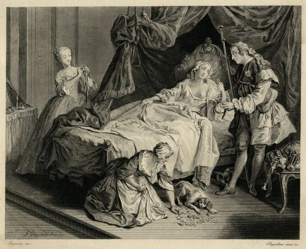 A crowded bedroom scene with a woman in bed, her lover standing at the side, two servants and a dog. An illustration to the story by La Fontaine, Le Petit Chien qui Secoue de l'Argent et des Pierreries (The Little Dog who obtained Money and Jewels)