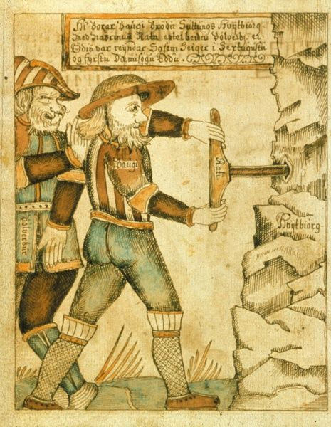 Baugi drills into the mountain so Odin can get mjod (a kind of beer). Illustration in The Olafur Brynjulfsson Edda 1760, a manuscript which contains material from both the Younger and Elder Edda. Date
