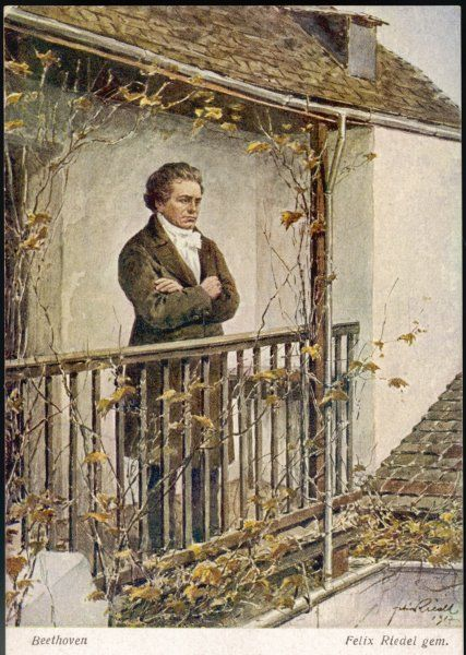 LUDWIG VAN BEETHOVEN Standing on a balcony in the Autumn with his arms folded