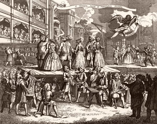 a burlesqued version of John Gay's opera: several of the characters are wearing animal heads Date: 18th century