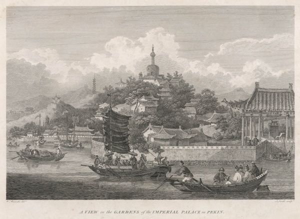 'A View in the Gardens of the Imperial Palace in Pekin', with various boats in the foreground