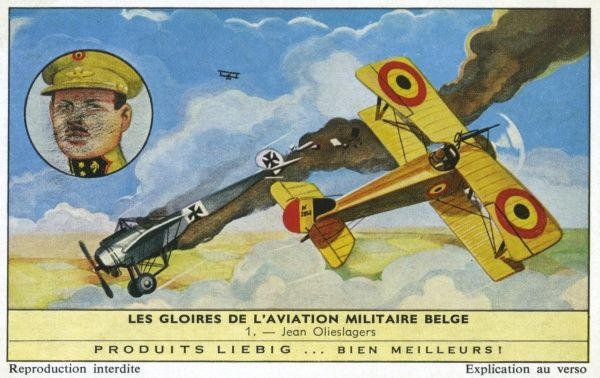 Jean Olieslagers (1883-1942) Belgian aviator, joins in war effort in World War One, becomes leading ace, winning many aerial victories over the Germans. Date: 1916+