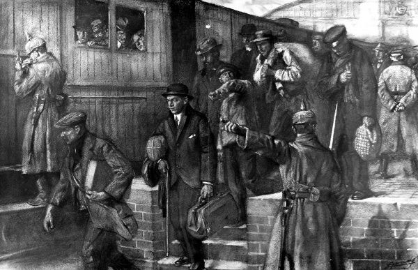 Illustration showing Belgian civilians being ordered around a train station by German soldiers as they were deported to Germany to work in heavy industry there, December 1916
