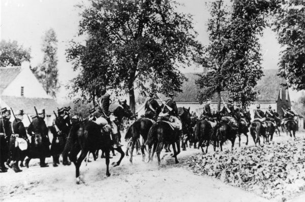 Belgian infantry and cavalry on the march during the second retreat from Antwerp, First World War. Date: 9-13 September 1914