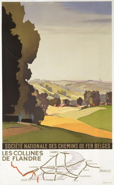 Poster for the Belgian National Railways, showing the Hills of Flanders and rail connections between Belgian towns