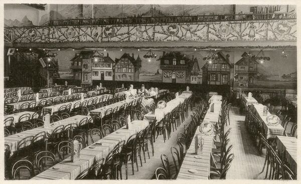 Belgium - In The White Horse, Blankenberge (In 'T Witte Paard) - Brasserie / Concert Hall. Long tables set out ready for the evening's diners/revellers to arrive! Date: circa 1920s