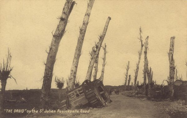 Belgium - WWI - Remains of 'The Druid' tank on the St Julien Poelcapelle Road Date: circa 1917
