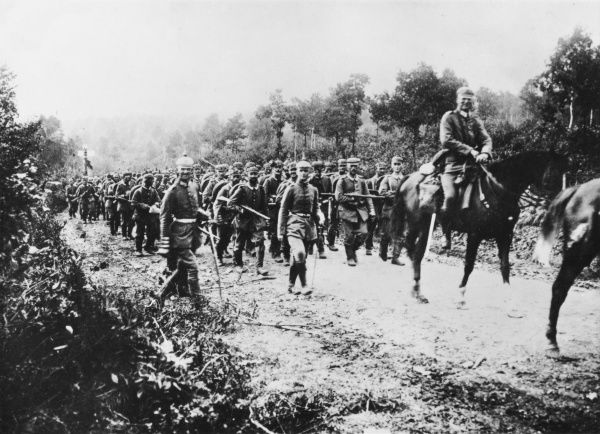 German troops crossing the Belgian German frontier into Belgium during World War I