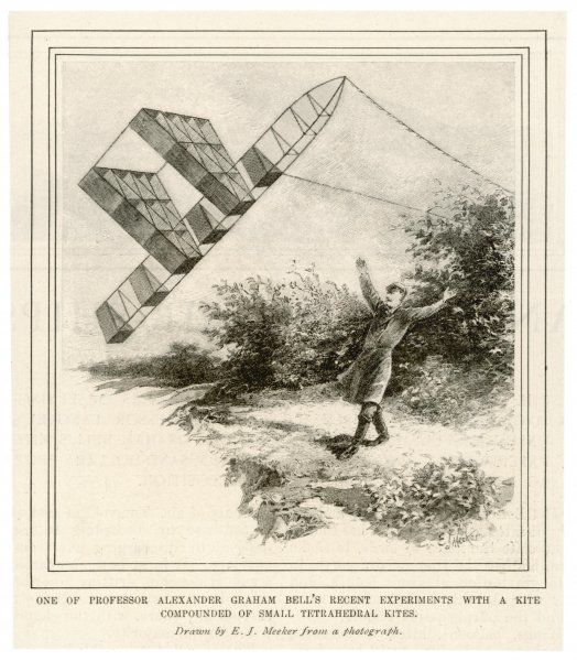The inventor Alexander Graham Bell, flying his tetrahedral kite