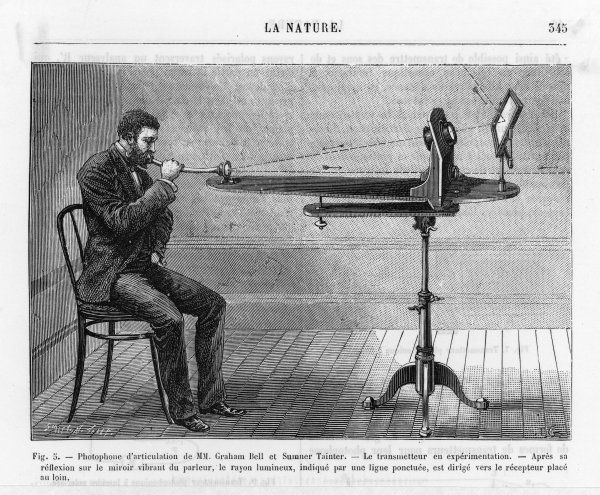 Bell's photophon being demonstrated