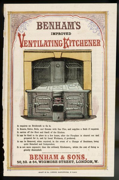 BENHAM'S IMPROVED VENTILATING KITCHENER - roasts, bakes, boils and steams with one fire, and supplies a bath if required