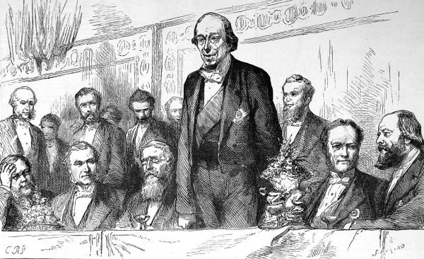 Engraving showing Benjamin Disraeli, 1st Earl of Beaconsfield (1804-1881), giving a speech at a Carlton Club Banquet held in his honour, 27th July 1878