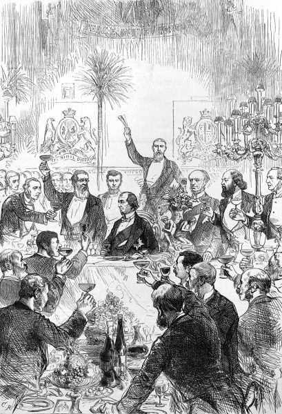 Engraving showing members of the Carlton Club toasting Benjamin Disraeli, 1st Earl of Beaconsfield (1804-1881) (seated centre), during a banquet held at the Riding-School, Knightsbridge