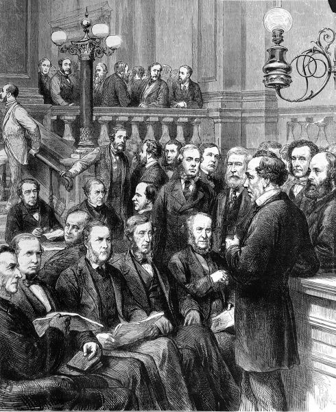 Engraving of Benjamin Disraeli (1804-1881) (front right) in discussion with members of the Conservative Party at the Carlton Club