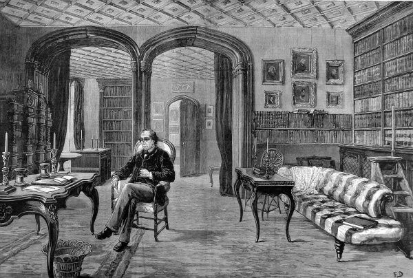 Engraving of Benjamin Disraeli (1804-1881), 1st Earl of Beaconsfield, sitting in his library at Hughenden Manor, near High Wycombe
