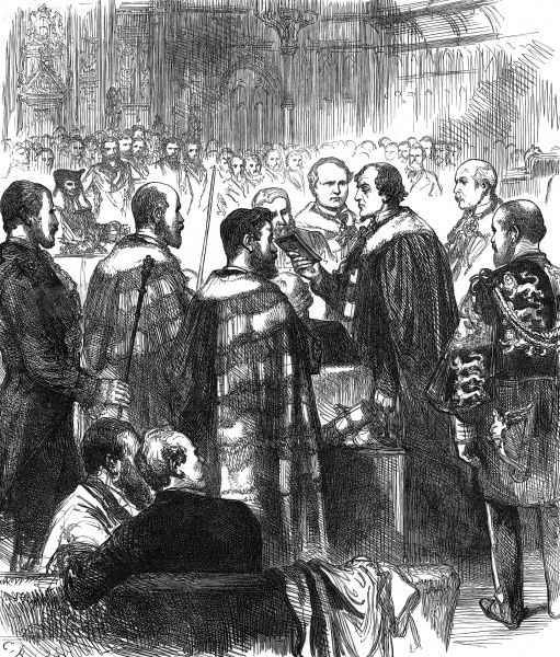 Engraving of Benjamin Disraeli, 1st Earl of Beaconsfield, taking the Oath in the House of Lords, before his first session as a peer. Disraeli (1804-1881), English statesman and novelist, can be seen on the right of the image holding a bible
