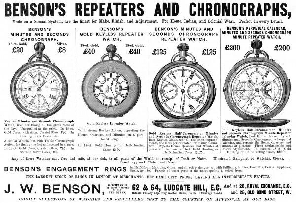An advertisement for J.W. Benson's repeaters and chronographs. Date: 1895