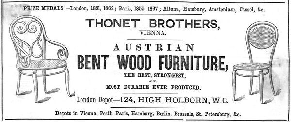 Advertisement for bent wood furniture designed by Thonet, Vienna Date: 1873