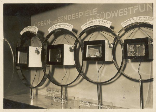 Huge modern microphones on display at the Berlin Wireless Exhibition, Germany