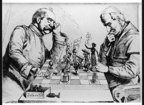 German Chancellor Bismarck and the Pope playing a strategic game of chess