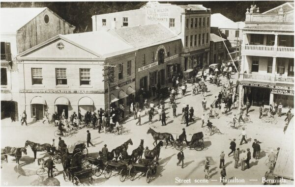 A hive of activity on a main street in Hamilton, Bermuda
