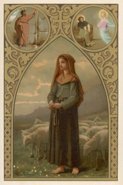 Bernadette Soubirous depicted as a 'bergere', as she is often described, though in fact she was employed to mind sheep for only about one month in her entire life !