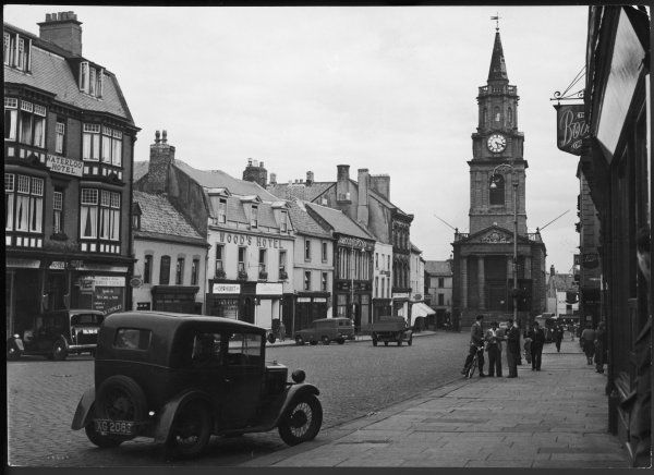 The High Street and Town Hall at Berwick-upon-Tweed, Northumberland, England, looking very appealing, with few cars and not too busy