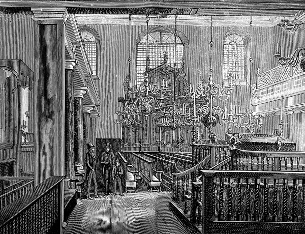 Engraving showing the interior of Bevis Marks Synagogue, London, c.1889. Bevis Marks was the first synagogue to be built, after the restoration, by Spanish and Portuguese Jews in Britain in 1701