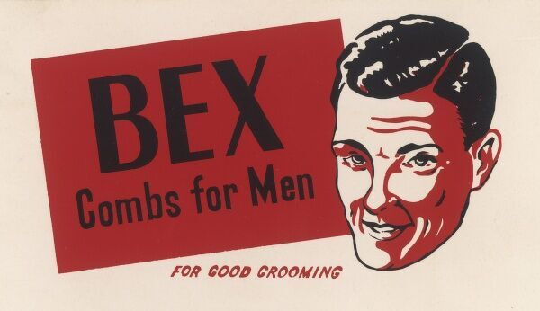"A suave young man advertises Bex Combs for Men ""for good grooming&quot"