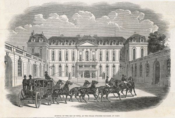 The Bey of Tunis, on a state visit to Louis-Philippe, arrives at the strangely deserted Palais d'Elysee- Bourbon, Paris